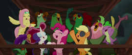 Ponies, parrots, and Spike singing together MLPTM