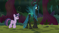 "Queen Chrysalis ""known to just anypony"" S8E13"