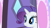 Rarity cautiously looking outside her house S1E25