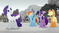 Rarity is planning a festival. Rainbow, Twilight and Applejack Rainbow Roadtrip