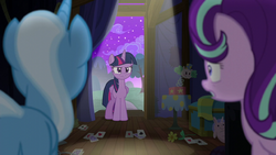 Trixie and Starlight look at an angry Twilight S6E6
