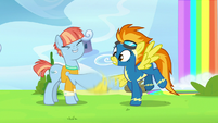 Windy Whistles vigorously shakes Spitfire's hoof S7E7