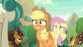 AJ and Fluttershy nervously greet the Kirin S8E23.png