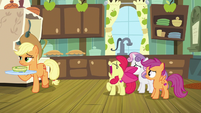 Apple Bloom wailing at Applejack S9E22