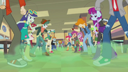Canterlot High cafeteria clouded in green mist EG2