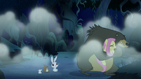 Fluttershy and Harry cower in fear S6E15