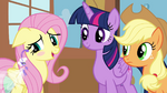 "Fluttershy blushing ""I'd rather not say"" S4E16.png"