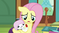 Fluttershy comforting Angel Bunny S7E5