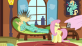 Fluttershy pulls sheets off of Zephyr S6E11.png