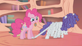 Pinkie Pie Stepping On Rarity's Hair S01E09.png