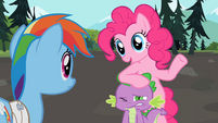 Pinkie Pie resting on Spike's head S2E07