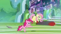 Pinkie and Fluttershy hurling buckballs S9E15