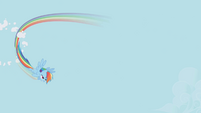 Rainbow Dash flying through a cloud S1E3