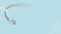 Rainbow Dash flying through a cloud S1E3