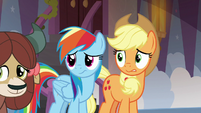 Rainbow and AJ with nervous expressions S8E9