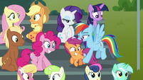 Rainbow puts Scootaloo down on bleachers S8E20