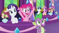 Rarity, Pinkie, and Spike smiling again S7E1
