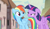 Twilight narrows her eyes at Rainbow S5E1