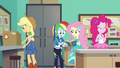 AJ, RD, Fluttershy, and Pinkie work on the yearbook EGFF.png