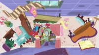 Discord and Fluttershy surrounded by chaos S7E12