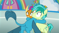 Gallus hugging Smolder and Sandbar S8E2