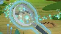 Magnifying glass over dirt footprints S8E17