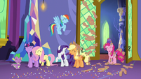 Mane Six and Spike group laugh S5E3