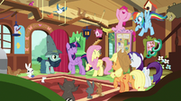 Mane Six and animals cheering together S7E5