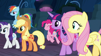 Mane Six leaving the Tree of Harmony's cave S9E1