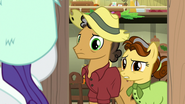 File:Oak Nut and Butternut puzzled by Rarity's appearance MLPBGE.png