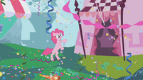 Pinkie Pie standing on her hind legs in her gala fantasy S1E03