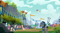 Ponies gather for the Wonderbolts' show S6E7