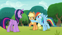 Rainbow plugging Applejack's mouth S8E9