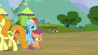 Rainbow pushes Scootaloo toward the Washouts S8E20