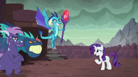 Rarity apologizing to the dragons S8E2