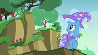 Trixie looking at the nearby cliff S7E17