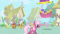 Twilight Sparkle and Spike landing in Ponyville S1 Opening