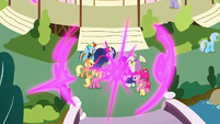 Twilight and friends teleport to Ponyville S9E26