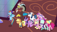 Twilight and her friends looking scared MLPBGE