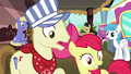 Apple Bloom and ponies witness Scootaloo's crash S8E6.png