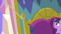 Applejack's lasso wraps around Twilight's bed MLPS2