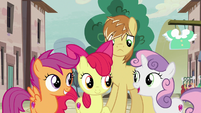 Cutie Mark Crusaders agree to help Feather Bangs S7E8