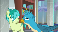Gallus angrily getting in Sandbar's face S8E1