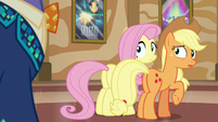 Gladmane appears behind Applejack and Fluttershy S6E20