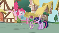 Pinkie Pie astonished to see new pony (Twilight) in town S1E01.png