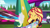 Pinkie Pie zipping away from Sunset EGSBP