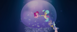 Pinkie and Skystar twirl around in giant bubble MLPTM