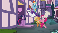 Pinkie throwing her friends into the Sugarcube Corner S4E18