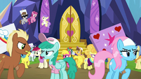 Ponies arguing outside the Castle of Friendship S7E14