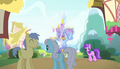 Ponies outside the Friendship Rainbow Kingdom castle S5E1.png